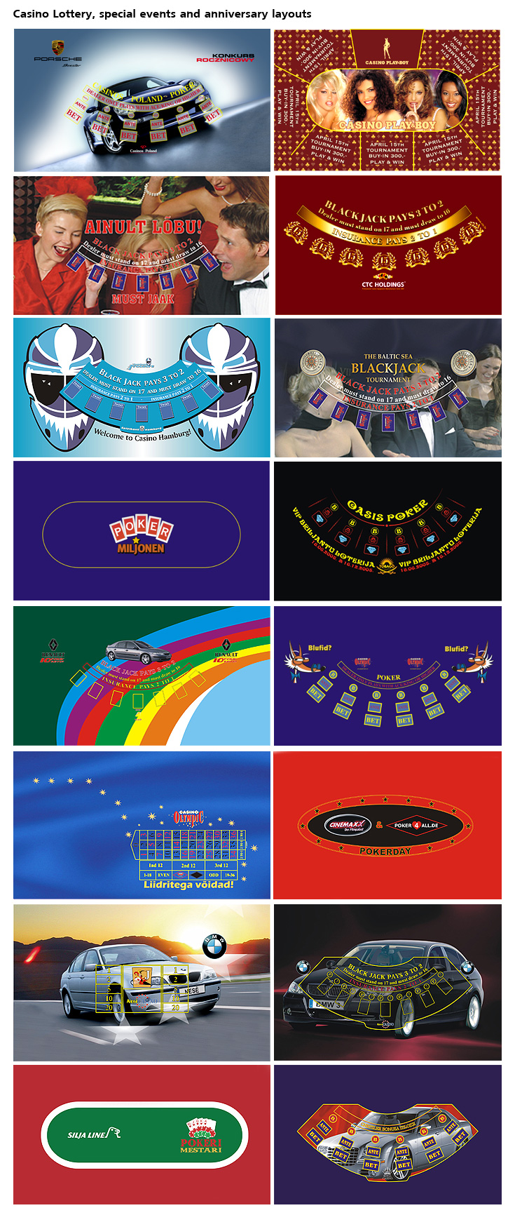 special events casino gaming table layouts